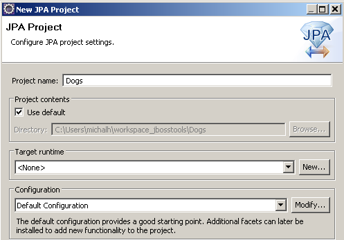 Project name and runtime configuration