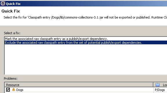 Exclude the associated raw classpath entry from the set of potential publish/export dependencies.